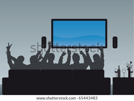 Group of people watching an event enjoying their home cinema - paste your own image