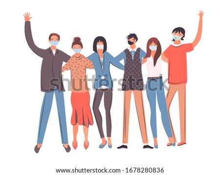 Group of people wearing face masks, air pollution, contaminated air, world pollution. Workers wearing medical masks to prevent disease. Concept of coronavirus quarantine. Vector Illustration