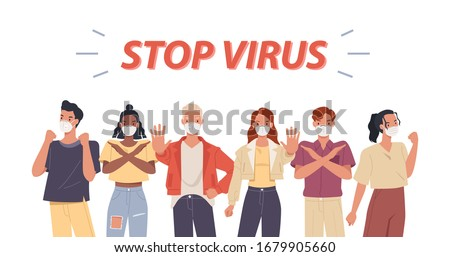 Group of people wearing face masks. Coronavirus epidemic protection. Stop pandemic concept. Vector illustration in a flat style