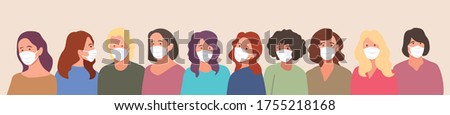 Group of people, wearing medical masks to prevent Coronavirus, covid-19 disease,  flu, air pollution, contaminated air, world pollution.  Vector banner illustration in a flat style
