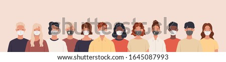 Group of people wearing medical masks to prevent disease, flu, air pollution, contaminated air, world pollution. Vector illustration in a flat style ストックフォト ©