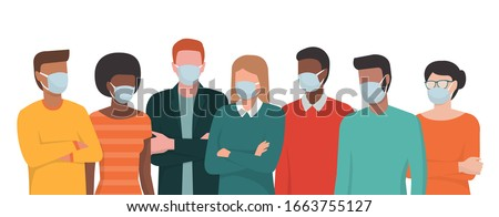 Group of people wearing surgical masks and standing together, prevention and safety procedures concept