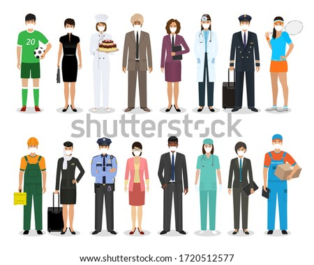 Group of people with different occupation wearing protective edical mask for prevent virus covid-19. Employment and labor day banner. Employee and workers characters together. Vector illustration. Сток-фото ©