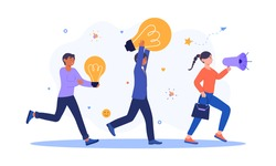 Group of people with lightbulbs is chasing a female character. Concept of running away idea, unattainable thought, search for new solutions. Flat cartoon vector illustration
