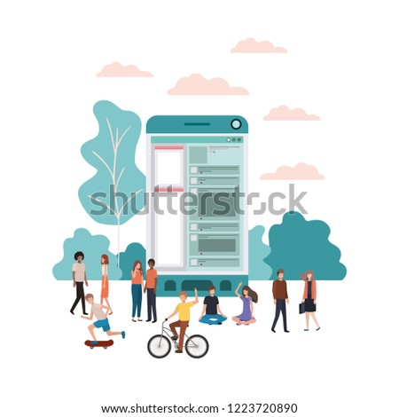 group of people with smartphone avatar character #1223720890