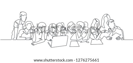 Group of people working continuous one line vector drawing. Students preparing to exams, doing homework hand drawn characters. Coworking. Job meeting, discussion. Minimalistic contour illustration