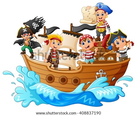 Stock Photo group of pirate on the ship