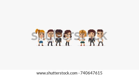 Group of pixel art office characters, male and female, isolated on white background