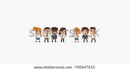 group of pixel art office