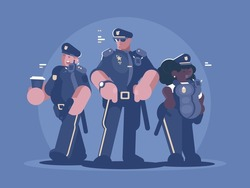 Group of police man and woman. Law, order and security. Vector illustration