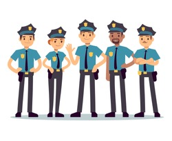 Group of police officers. Woman and man cops vector characters. Police cop and officer security in uniform illustration