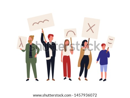 Group of political activists holding banners and placards. People taking part in picketing, mass meeting, parade or rally, demonstration. Protesting men and women. Flat cartoon vector illustration.