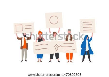 Group of political activists or demonstrators holding banners or placards. Men and women taking part in public protest, mass meeting, street demonstration, rally. Flat cartoon vector illustration.