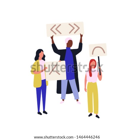 Group of political activists or demonstrators holding banners or placards. People taking part in social protest meeting, demonstration, picketing, rally or march. Flat cartoon vector illustration.
