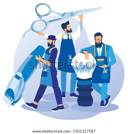 Group of Professional Barbers Wearing Aprons Posing with Huge Tools Haircutting Machine, Scissors and Shaving Brush in Barbershop Waiting Customers for Hair Styling Cartoon Flat Vector Illustration