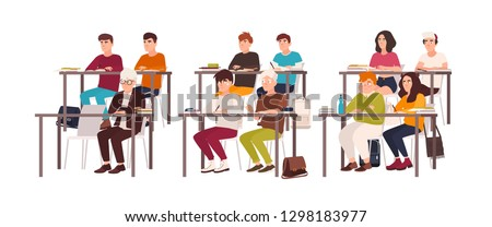 Group of pupils sitting at desks in classroom, demonstrating good behavior and attentively listening to lesson or lecture. Obedient teenage children or students. Flat cartoon vector illustration.