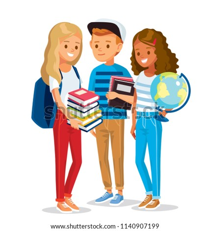 Group of pupils standing together, holding books and globe. Vector illustration. Flat design.