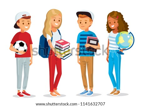Group of pupils standing together, holding books,  globe and ball. Set of pupils. Vector illustration. Flat design.
