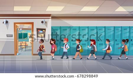 Group Of Pupils Walking In School Corridor To Class Room, Mix Race Schoolchildren Flat Vector Illustration