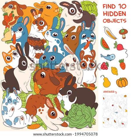 Group of rabbits. Find Cat. Find 10 hidden objects in the picture. Puzzle Hidden Items. Funny cartoon character. Vector illustration. Set