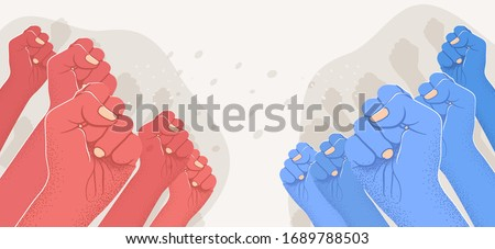 Group of raised red arms against group of blue raised arms. Opposition, confrontation, versus concept. Left vs right. Vector illustration Foto stock ©