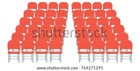 Group of red plastic chairs with flat and solid color design. Illustrated vector.