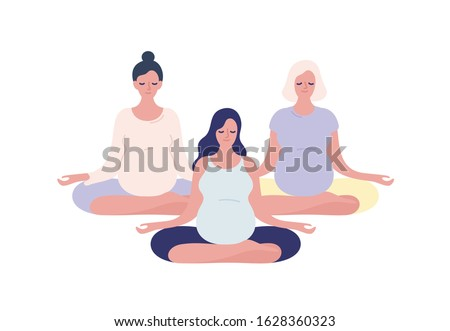 Group of relaxing pregnant woman meditating in lotus pose vector flat illustration. Pregnancy female practicing yoga isolated on white. Concept of maternity and healthy lifestyle