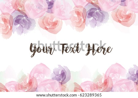 Group of roses, watercolor flower in paint style background with copy space and text.