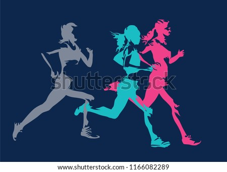 Group of running women, abstract isolated vector silhouettes. Side view. Marathon runners stock photo