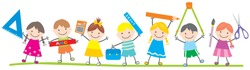 Group of school children,teaching aids, funny vector illustration