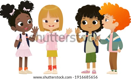 Group of school friends talk to each other.School friends have fun. Multicultural friends have fun