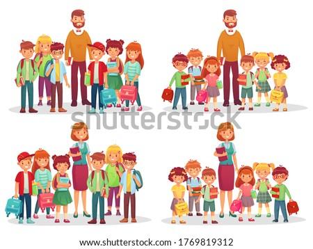 Group of school kids and teacher. Education knowledge, students elementary and preschool kindergarten class. Vector illustration Сток-фото ©