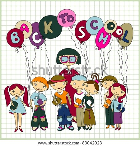 """Group of schoolchildren and  their teacher with balloons with text """"back to school"""" on paper  in a cell background. Sketchy vector. Color version"""