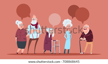 Group Of Senior People With Chat Bubble Walking With Stick Modern Grandfather And Grandmother Full Length Flat Vector Illustration