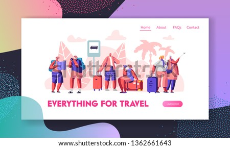 Group of Senior Tourists Stand on Bus Station in Exotic Country. Traveling Aged Characters in Trip or Tour for Elderly People Website Landing Page, Web Page. Cartoon Flat Vector Illustration, Banner