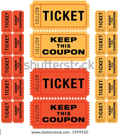 group of sequentially numbered raffle tickets in red and yellow.