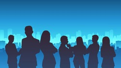 group of silhouette business man and woman standing with City Landscape on blue color background