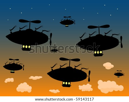 Group of Silhouetted Airships Sail High against dusky sky vector