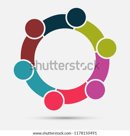 Group of Six people in a circle.Teamwork meeting.people are meeting in the room.Powerful combined forces. Foto stock ©