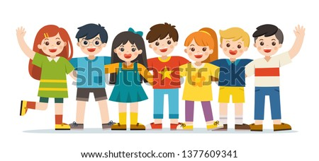 Group of smiling boys and girls. Happy student standing together and waving hands. Isolated on white background.