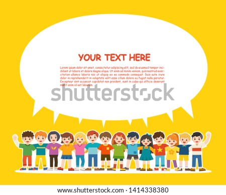 Group of smiling boys and girls. Happy student standing together and waving hands. Isolated on white background. Template for advertising brochure. Children look up with interest. Back to School.