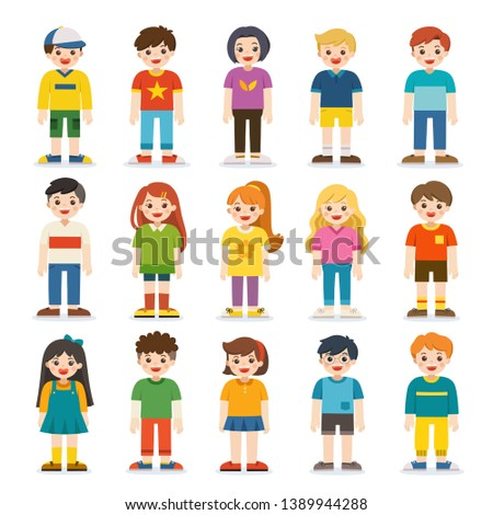 Group of smiling boys and girls. Happy student standing together. Isolated on white background.