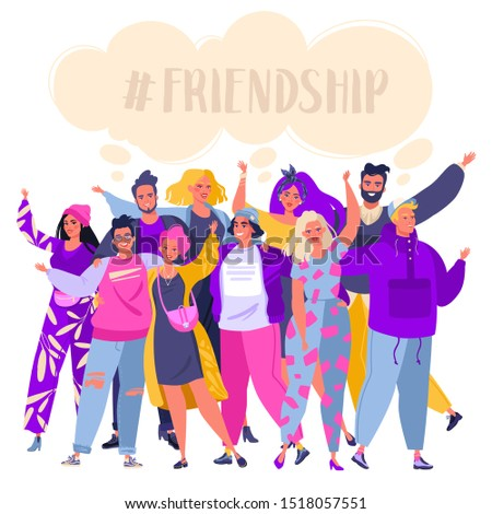 Group of smiling, happy, young people standing together, embracing each other, waving hands. Cute, joyful friends  isolated on white background. Friendship concept. Flat cartoon, vector illustration.