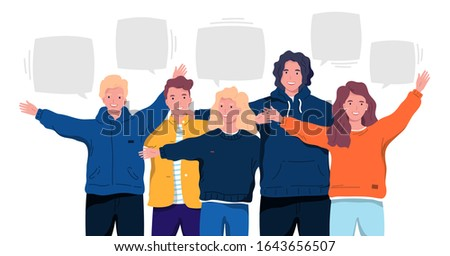 Group of smiling people. Vector illustration Young friends hug each other. Team of happy students on an isolated white background. Cartoon flat style.