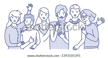 Group of smiling teenage boys and girls or friends standing together, embracing each other, waving hands. Happy students isolated on white background. One colour line art cartoon vector illustration.