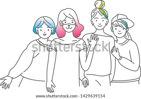 Group of smiling teenage girls, friends standing together, embracing each other, waving hands. Happy students isolated on white background. One colour line art cartoon vector illustration.