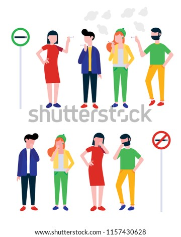group of smoking and coughing