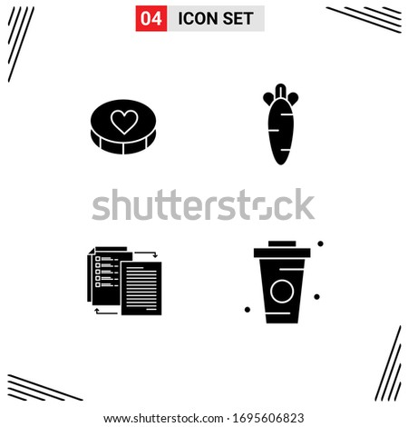 Group of 4 Solid Glyphs Signs and Symbols for favorite; share; loves; easter; wlan Editable Vector Design Elements