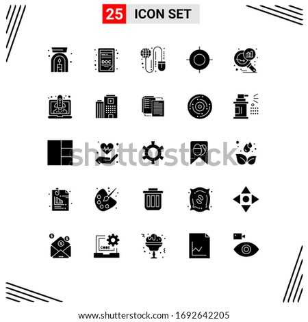 Group of 25 Solid Glyphs Signs and Symbols for graph magnifying; data analyzing; grid; travel; location Editable Vector Design Elements