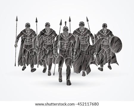 group of spartan warrior